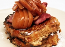 Brandied Harrow's Delight Pears with French Toast
