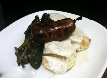 Biscuits and Gravy with Wood Grilled Chaurice