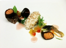 Worcestershire gel-poached arctic char