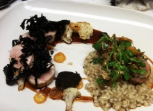 Guinea hen with truffles and pearl barley