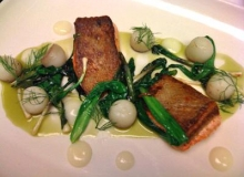 Seared salmon with spring ramps